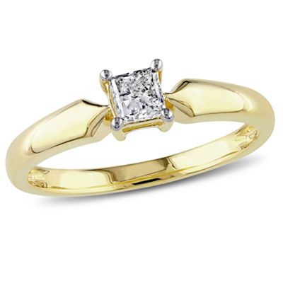 Womens 1/3 CT. T.W. Princess White Diamond 10K Gold Solitaire Ring