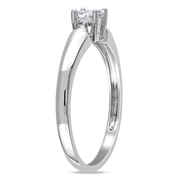 Womens 1/4 CT. T.W. Genuine Princess White Diamond 14K Gold Solitaire Ring