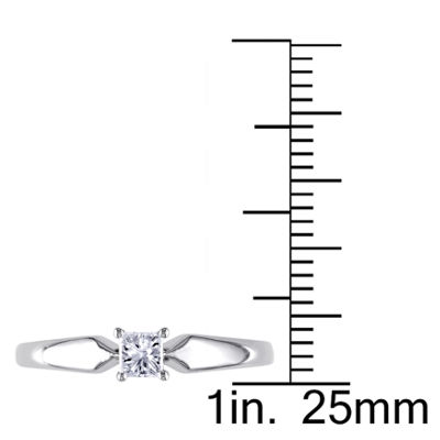 Womens 1/4 CT. T.W. Princess White Diamond 14K Gold Solitaire Ring