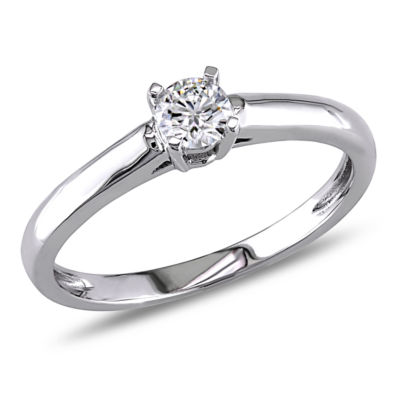 Womens 1/4 CT. T.W. Round White Diamond 14K Gold Solitaire Ring
