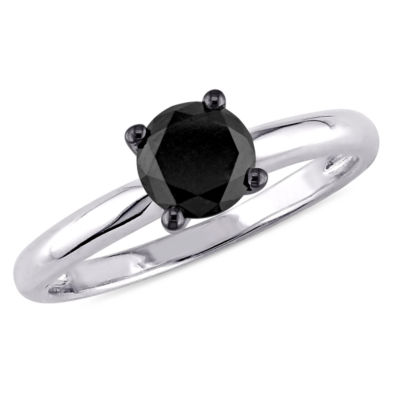 Womens 1 CT. T.W. Black Diamond 10K Gold Solitaire Ring