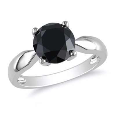 Womens 3 CT. T.W. Color Enhanced Round Black Diamond 10K Gold Solitaire Ring