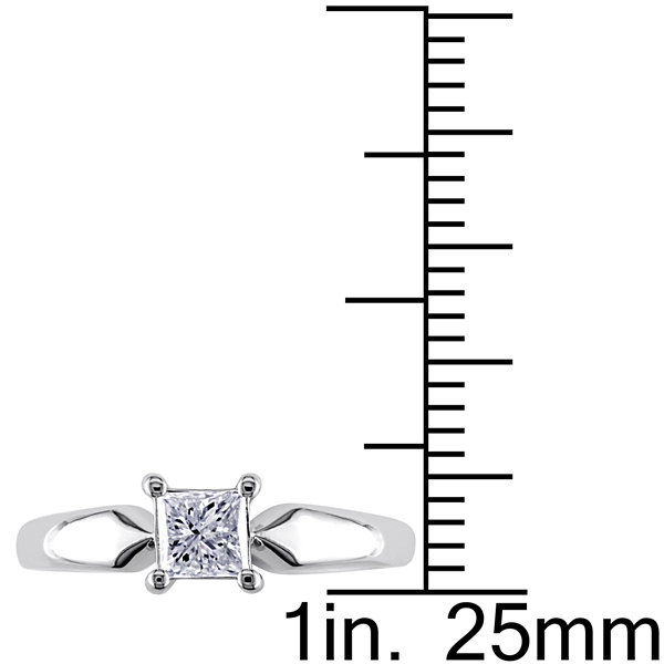 Womens 1/2 CT. T.W. Princess White Diamond 14K Gold Solitaire Ring