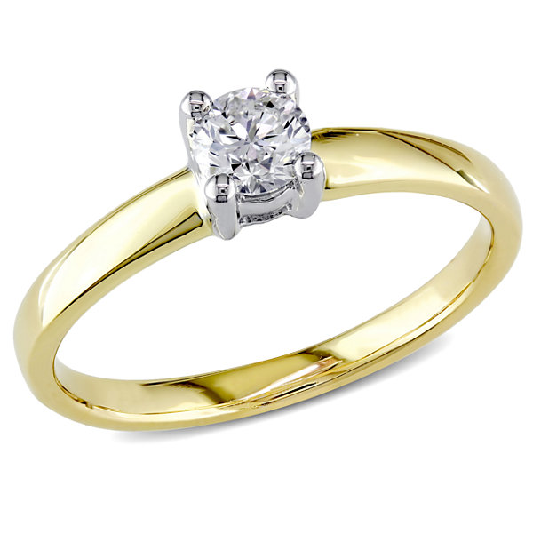Womens 1/3 CT. T.W. Genuine Round White Diamond 14K Gold Solitaire Ring