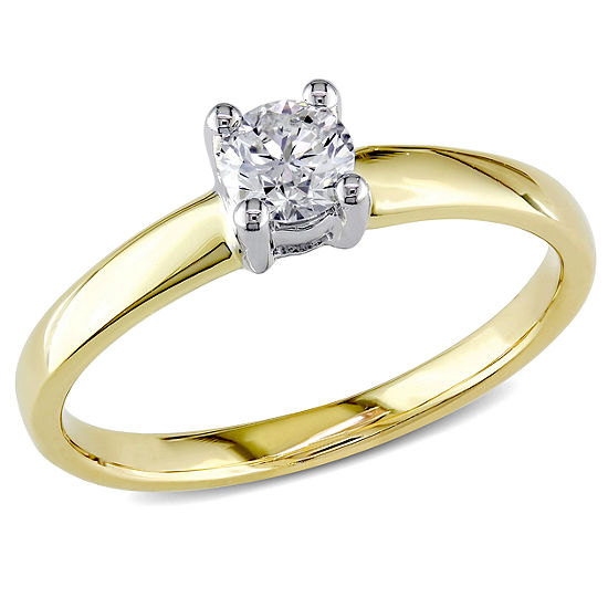 Womens 1/3 CT. T.W. Genuine White Diamond 14K Gold Solitaire Engagement Ring