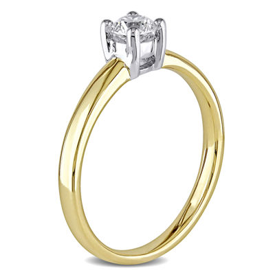 Womens 1/3 CT. T.W. Genuine White Diamond 14K Gold Solitaire Ring