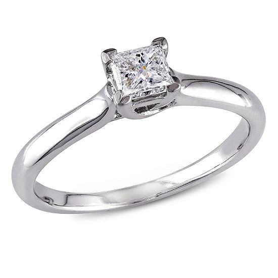 Womens 1/2 CT. T.W. Genuine White Diamond 14K Gold Solitaire Engagement Ring