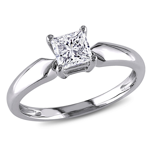 Womens 3/4 CT. T.W. Genuine Princess White Diamond 14K Gold Solitaire Ring