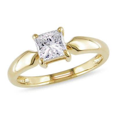 Womens 1 CT. T.W. Genuine White Diamond 14K Gold Solitaire Ring