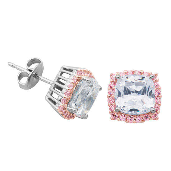 Diamonart Lab Created White Cubic Zirconia 14K Rose Gold Over Silver Sterling Silver 9.4mm Phineas and Ferb Stud Earrings