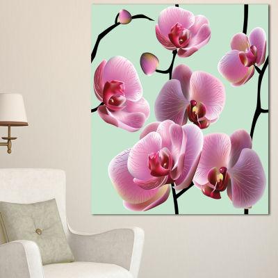 Designart Orchid Seamless On Blue Background Floral Canvas Art Print - 3 Panels