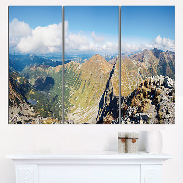 Design Art Ostry Rohac And Volovec At Tatras Landscape Triptych Canvas Art Print