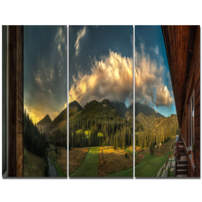 Designart Outside View From Hotel Room Landscape Triptych Canvas Art Print