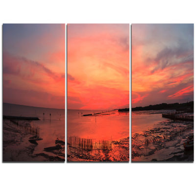 Designart Outstanding Panorama Of Sunset In Sea Extra Large Seascape Art Triptych Canvas