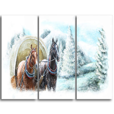 Designart Painted Scene With Horses In Winter Landscape Triptych Canvas Art Print
