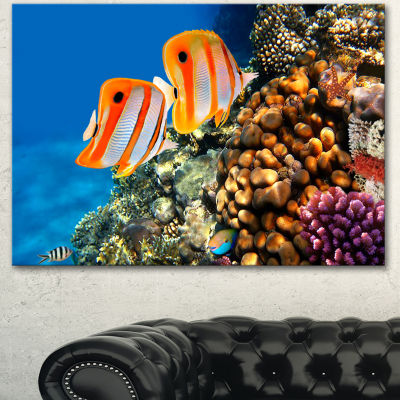 Design Art Pair Of Copper Band Butterfishes Oversized Animal Wall Art - 3 Panels