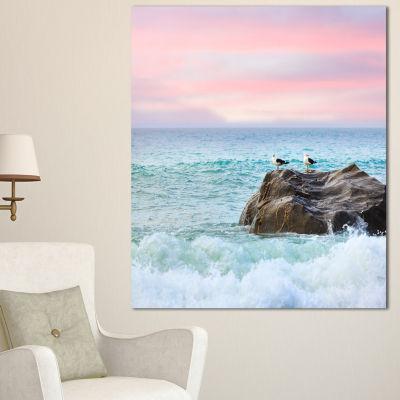 Designart Pair Of Seagulls On Large Rock SeascapeCanvas Art Print - 3 Panels