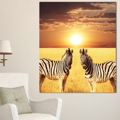 Designart Pair Of Zebras In Field At Sunset ExtraLarge African Canvas Art Print - 3 Panels
