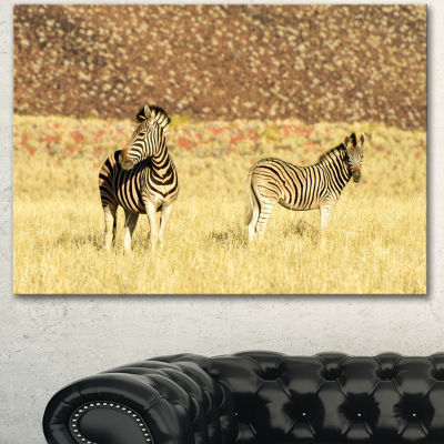 Designart Pair Of Zebras In Namib Desert Animal Canvas Art Print