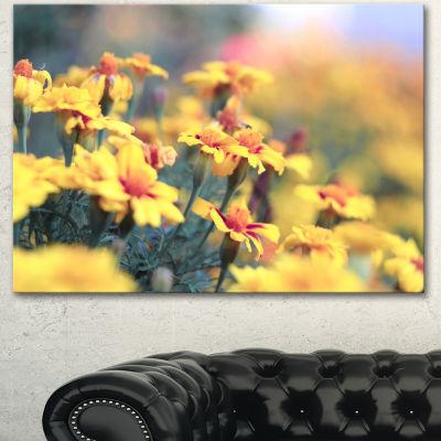 Designart Pale Yellow Marigold Flowers Floral Canvas Art Print - 3 Panels