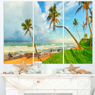 Designart Palm Trees Over The Beach Sri Lanka Modern Seascape Triptych Canvas Artwork