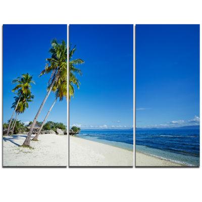 Designart Palms Bent To Beautiful Vacation Beach Modern Seascape Triptych Canvas Artwork