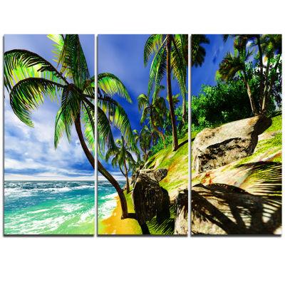 Designart Palms In Hawaii Island Beach Modern Seascape Triptych Canvas Artwork