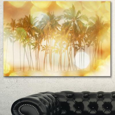 Design Art Palms In Serene Tropical Beach LandscapeCanvas Art Print - 3 Panels