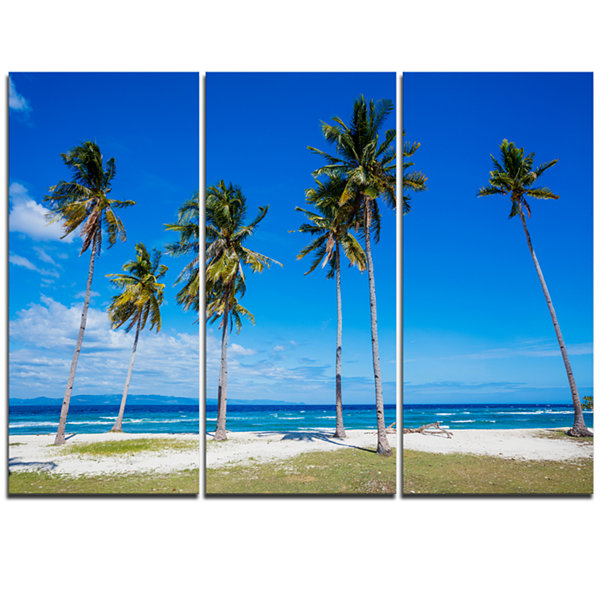 Designart Palms On Philippines Tropical Beach Modern Seascape Triptych Canvas Artwork