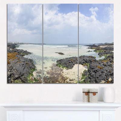 Designart Panorama View Of Woljeongri Beach Landscape Triptych Canvas Art Print
