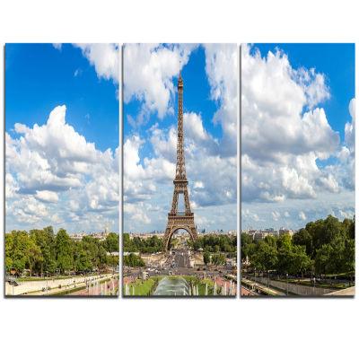 Designart Panoramic Paris Paris Eiffel TowerunderClouds Cityscape Triptych Canvas Print