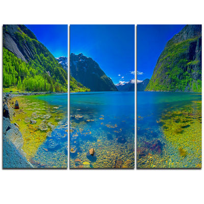 Designart Panoramic View Of Norwegian Fjord Landscape Triptych Canvas Art Print
