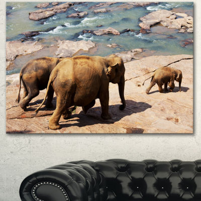 Designart Parade Of Elephants In Sri Lanka AfricanLandscape Canvas Art Print - 3 Panels