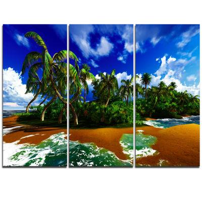 Designart Paradise Beach In Hawaii Island Modern Seascape Triptych Canvas Artwork