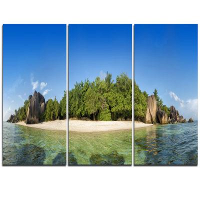 Designart Paradise On Earth Seychelles Island Large Seashore Triptych Canvas Print