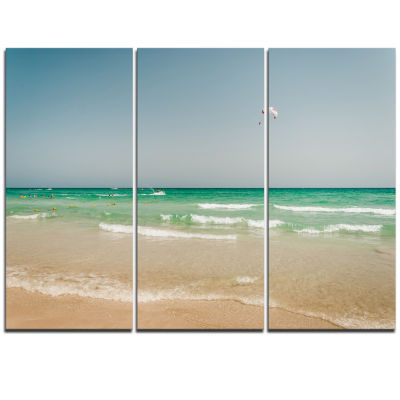 Designart Parasailing In Summer In Africa Extra Large Seashore Triptych Canvas Art