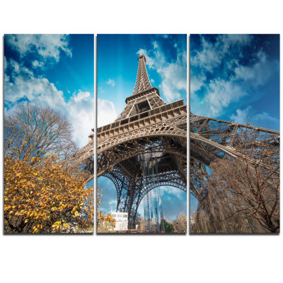 Designart Paris Paris Eiffel Towerand Blue ParisSky View Cityscape Triptych Canvas Print