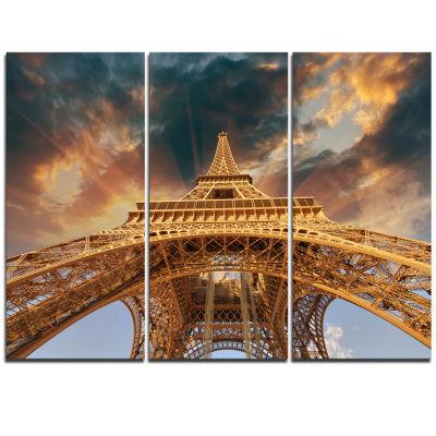 Designart Paris Paris Eiffel Towerin Paris With Sunset Colors Cityscape Triptych Canvas Print