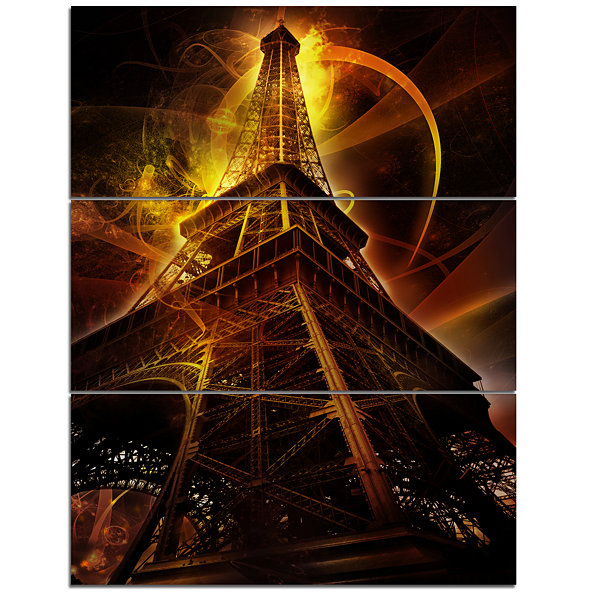 Designart Paris Paris Eiffel Toweron Fantasy Background Cityscape Triptych Canvas Print