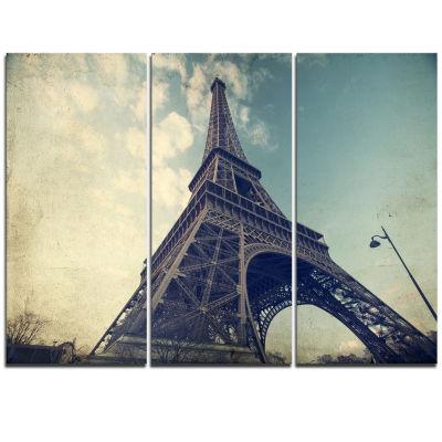 Designart Paris Paris Eiffel Towervintage View From Ground Cityscape Triptych Canvas Print