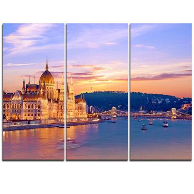 Designart Parliament And Bridge Over Danube Cityscape Triptych Canvas Print