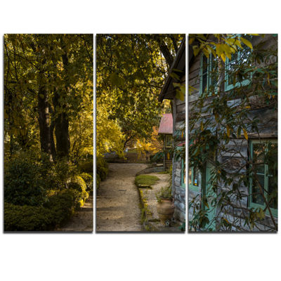 Designart Pathway In The Green Garden Landscape Triptych Canvas Art Print