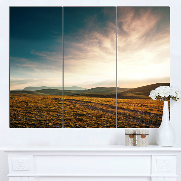 Designart Pathway Over Mountains At Sunset Oversized Landscape Canvas Art - 3 Panels