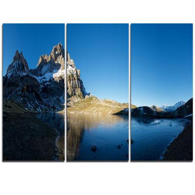 Designart Payrenees Mountains Landscape Modern Seascape Triptych Canvas Artwork