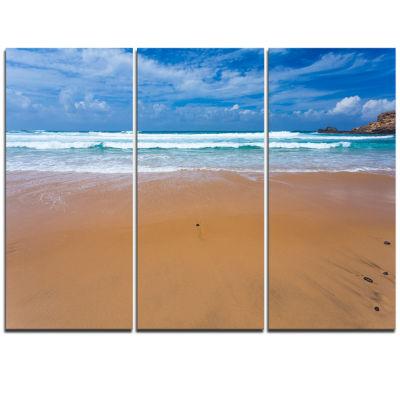Designart Peaceful Atlantic Seashore Portugal Beach Photo Triptych Canvas Print
