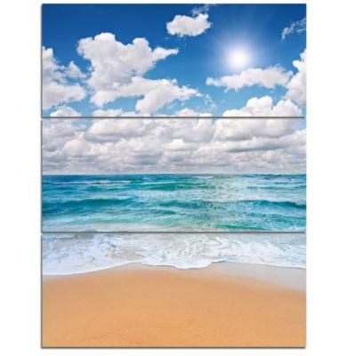 Designart Peaceful Seashore Under White Clouds Modern Beach Triptych Canvas Art Print