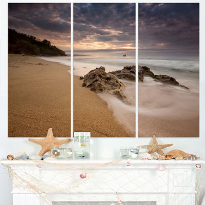 Designart Peaceful Seashore With White Waves BeachPhoto Triptych Canvas Print