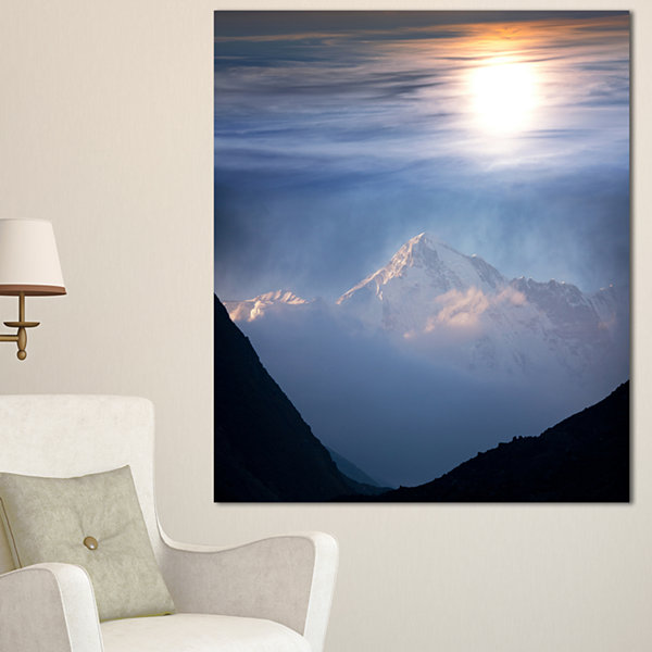 Design Art Peak Of Winter Mountains At Sunset Landscape Wall Art On Canvas - 3 Panels