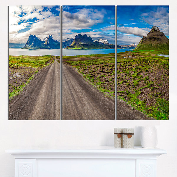 Designart Peaks And Fjords Panoramic View Landscape Print Wall Artwork