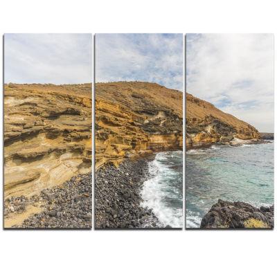 Design Art Peninsula Going Beyond The Horizon Seashore Triptych Canvas Art Print